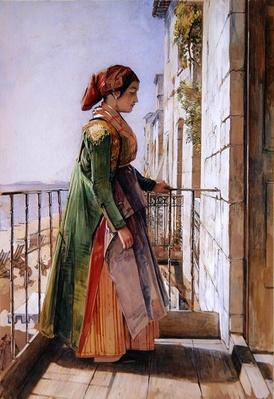 A Greek Girl Standing on a Balcony, c.1840