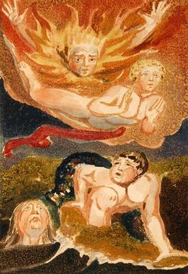 Four naked men emerging from their elements: flames, sky, sea and green earth, plate 22 from 'The First Book of Urizen', 1794