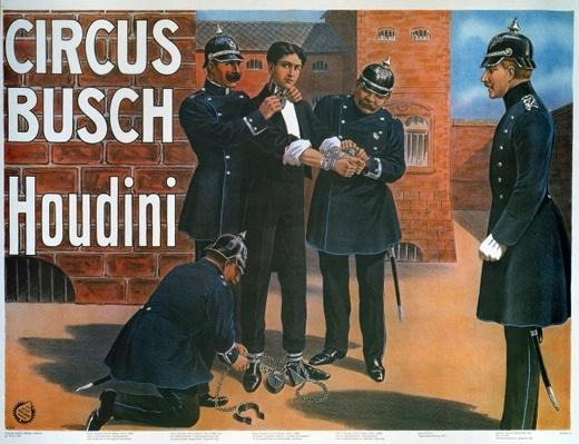 Reproduction of a poster of 1907 showing Houdini prior to an escape from a German prison, 1975
