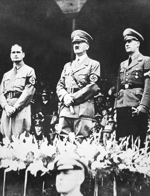 Hitler, Hess and Von Schirach at the Nuremberg Rally, 1935