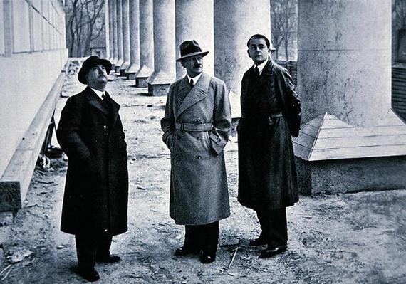 Hitler flanked by Professor Gall and architect Albert Speer during the construction of the House of German Art in Munich, 1934