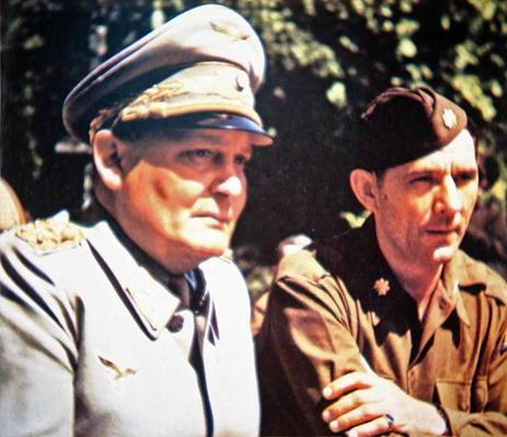 Hermann Goering in captivity with an American Officer
