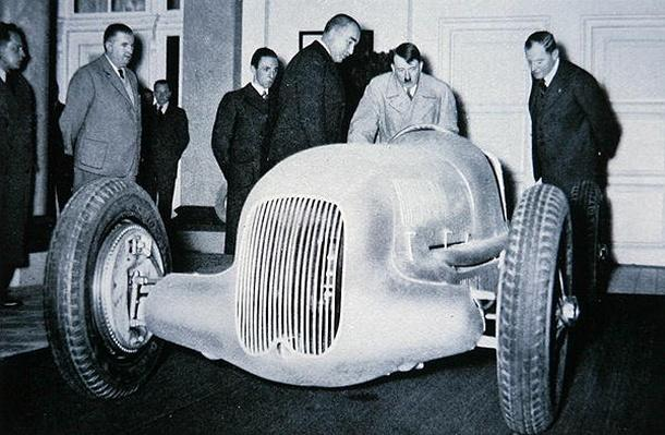 Hitler inspecting the Mercedes Benz W25 racing car, 1934