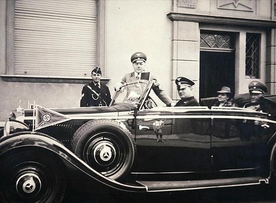 Nazi officers in a Mercedes staff car, c.1940