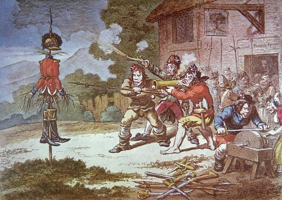 Society of United Irishmen in training against the British Army, 1798