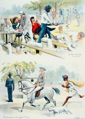 'The Colonel on his way to Tennis' and 'Outside the Club, Lucknow', from Lloyd's Sketches of Indian Life, 1890