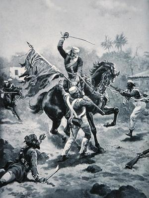 Lt Roberts winning his V.C., January 2nd 1858, illustration from 'The History of the Nation'