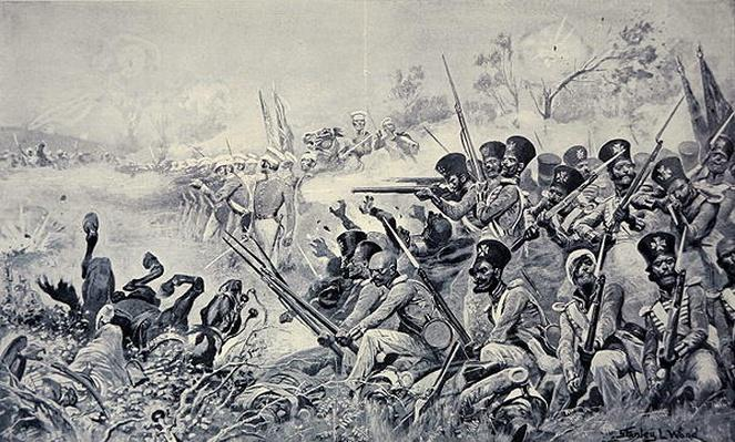 Godby's Brigade making a gallant stand when surrounded by the Sikhs, Battle of Chilianwala, 13th January 1849