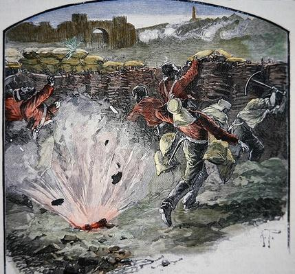 The British positions under cannon fire from the city during the Siege of Delhi, 14-20 September 1857