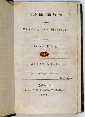 Frontispiece from 'Out of my Life: Poetry and Truth', 1811-33