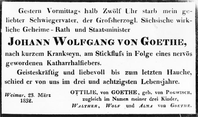 Johann Wolfgang von Goethe's Death Notice, 1832