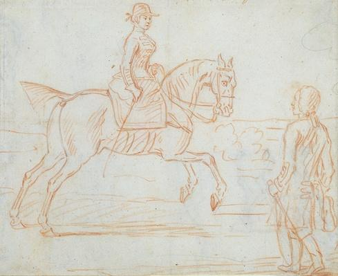 A lady riding side-saddle turns to look at a dismounted rider