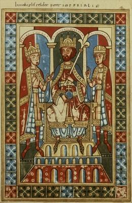Frederick I with his two sons King Henry VI and Duke Frederick, c.1180