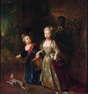 Crown Prince Frederick II with his sister Wilhelmine, 1714