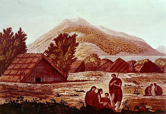 Natives, with Huts and Mountains Behind, engraved by F. Fumagalli