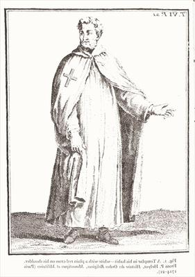A Templar in his habit: white with a plain red cross on his shoulder, from 'Histoire des Ordres Religieux, Monastiques et Militaires', by P. Heylot, pub. Paris, 1714-21