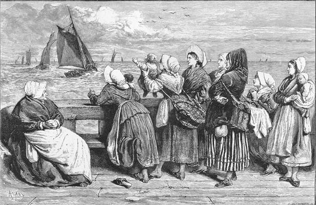 Waiting for the Boats, sketched near Boulogne, published in 'The Illustrated London News', 1868