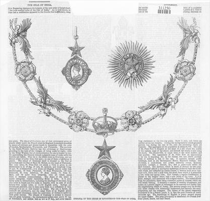 Insignia of the Order of Knighthood The Star of India, from 'The Illustrated London News'