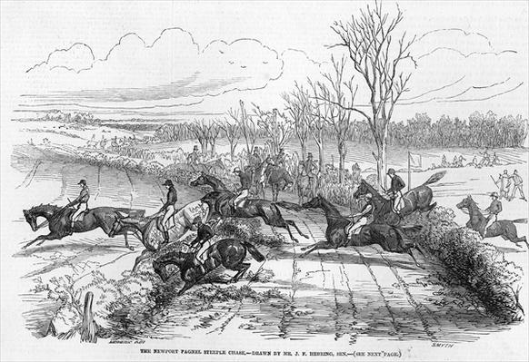 The Newport Pagnel Steeple Chase, engraved by Smyth, from 'The Illustrated London News', 28th November 1846