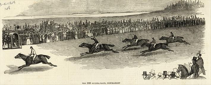 The 2000 Guinea Race, Newmarket, from 'The Illustrated London News', 3rd May 1845