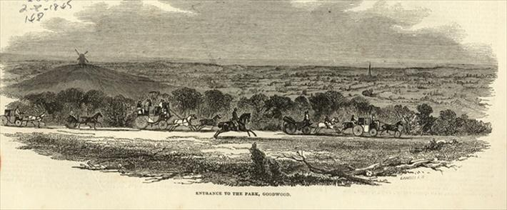 Entrance to the Park, Goodwood, from 'The Illustrated London News', 2nd August 1845