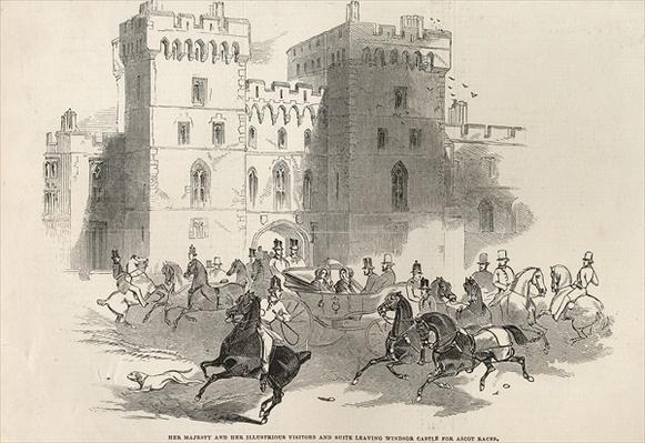 Her Majesty and her Illustrious Visitors and Suite leaving Windsor Castle for Ascot Races, from 'The Illustrated London News', 14th June 1845