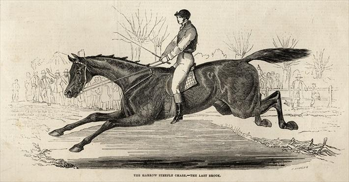 The Harrow Steeple Chase: The Last Brook, from 'The Illustrated London News', 26th April 1845