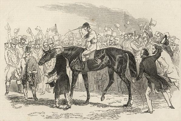 Sir Tatton Sykes leading in the winner of the St. Leger, from 'The Illustrated London News', 26th September 1846