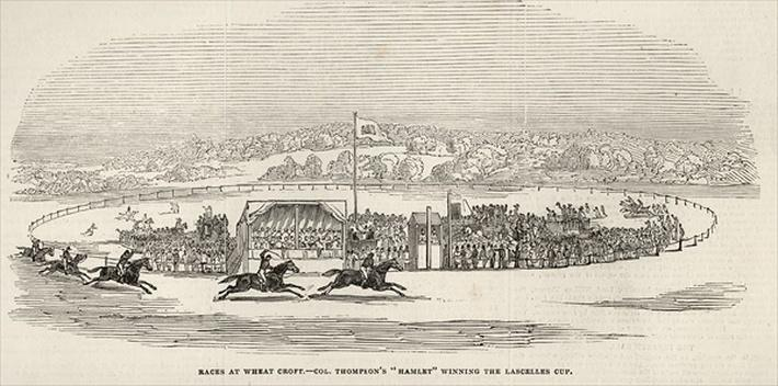 Races at Wheat Croft: Col. Thompson's 'Hamlet' winning the Lascelles Cup, from 'The Illustrated London News', 15th November 1845