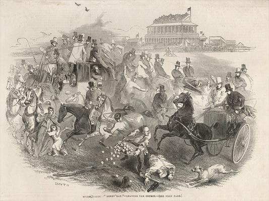 Epsom Races, 'Derby Day': Leaving the Course, from 'The Illustrated London News', 31st May 1845