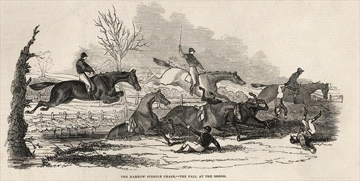 The Harrow Steeple Chase: The Fall at the Brook, from 'The Illustrated London News', 26th April 1845