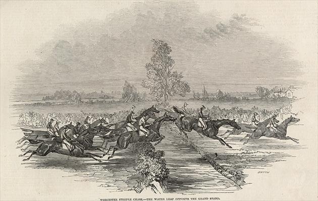 Worchester Steeple Chase: The Water Leap opposite the Grand Stand, from 'The Illustrated London News', 26th April 1845