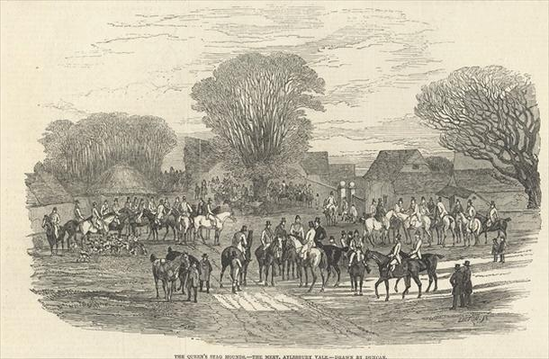 The Queen's Stag Hounds: The Meet, Aylesbury Vale, from 'The Illustrated London News', 5th December 1846