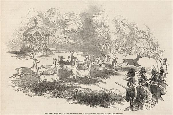 The Deer Shooting at Gotha: Deer breaking through the Chasseurs and Keepers, from 'The Illustrated London News', 13th September 1845