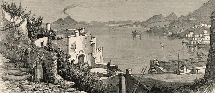 The Disastrous Earthquake at Ischia: The beach and town of Casamicciola from the village of Lacco, from 'The Graphic', 4th August 1883