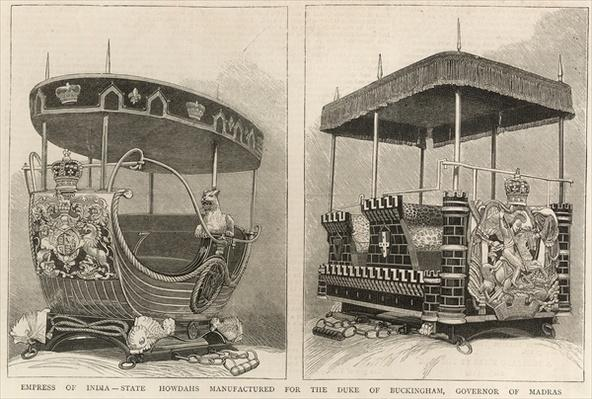 Empress of India: state howdahs manufactured for the Duke of Buckingham, Governor of Madras, from 'The Graphic', 3rd February 1877