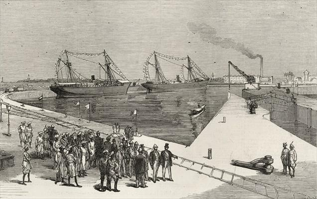 Visit of the Viceroy of India to the Sassoon Dock at Bombay, from 'The Illustrated London News', 25th December 1875