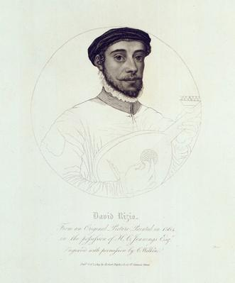 Portrait of David Rizio, from an original painted in 1564, engraved by C. Wilkin, pub. London, 1814