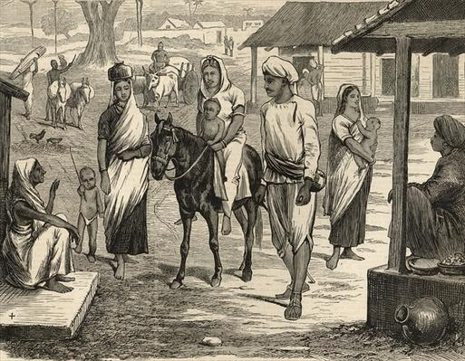 The Indian Famine: A Bengalee Village, from 'The Illustrated London News', 16th May 1874