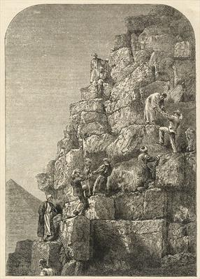 Ascent of the Great Pyramid, engraved from a photograph