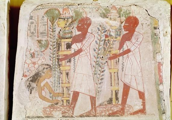 Preparation of two mummies for the purification ceremony, from the tomb of Merymaat, New Kingdom
