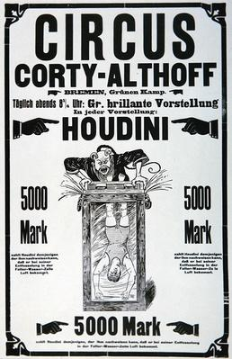 Poster advertising a performance by Houdini, January 1922