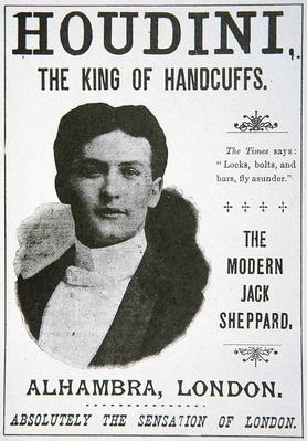 Poster advertising a performance by Houdini at the Alhambra, London