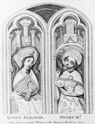 Queen Eleanor and Henry III, taken from an ancient window in the Church of Boxhill, Sussex