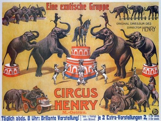 Poster advertising the 'Circus Henry', 1908