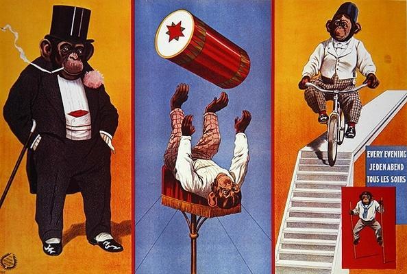 Poster advertising Moritz the chimpanzee, 1912