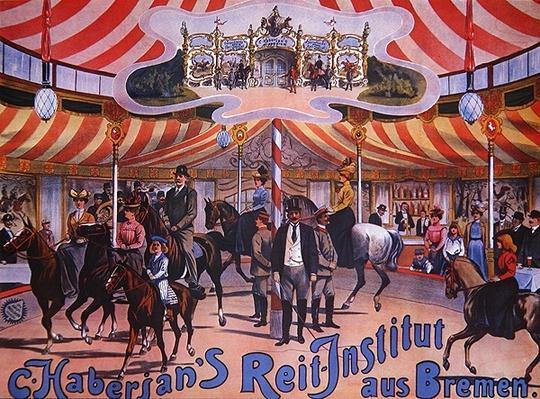 Poster advertising 'C. Haberjan's Reit-Institut aus Bremen', c.1880