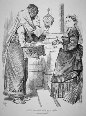 'New Crowns for Old Ones', cartoon published in Punch, 15th April, 1876