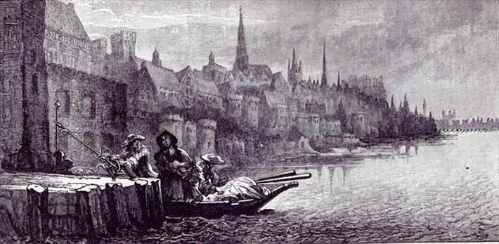 Flight of King James on the morning of December 11, 1688, from 'Leisure Hour', 1891
