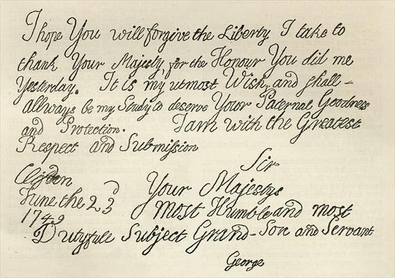 Letter from George III to his grandfather the King, 23rd June 1749, published in 'Leisure Hour', 1891
